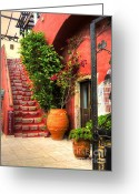 Staircase Greeting Cards - The Red Staircase Greeting Card by Michael Garyet