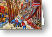Kids At Play Greeting Cards - The Red Staircase Painting By Montreal Streetscene Artist Carole Spandau Greeting Card by Carole Spandau