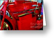 Made In The Usa Digital Art Greeting Cards - The Red Steam Flyer . Steam Powered Motorcycle . 7D14374 Greeting Card by Wingsdomain Art and Photography