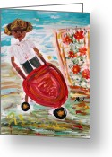 Tomboy Greeting Cards - The Red Steel Barrow Greeting Card by Mary Carol Williams