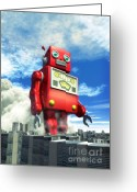 Dust Greeting Cards - The Red Tin Robot and the City Greeting Card by Luca Oleastri