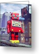 Disaster Greeting Cards - The Red Tin Robot in China Greeting Card by Luca Oleastri