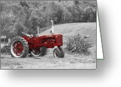 Selective Color Greeting Cards - The Red Tractor Greeting Card by Aimelle