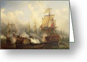 Frigate Greeting Cards - The Redoutable at Trafalgar Greeting Card by Auguste Etienne Francois Mayer