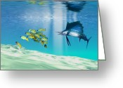 Freedom Painting Greeting Cards - The Reef Greeting Card by Corey Ford