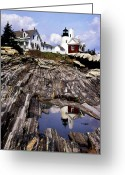Lighthouse Artwork Greeting Cards - The Reflection At Pemaquid Greeting Card by Skip Willits