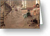Rehearsal Greeting Cards - The Rehearsal Greeting Card by Edgar Degas
