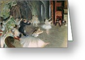 Edgar Greeting Cards - The Rehearsal of the Ballet on Stage Greeting Card by Edgar Degas
