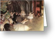 Rehearsal Greeting Cards - The Rehearsal on the Stage Greeting Card by Edgar Degas