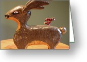 Deer Sculpture Greeting Cards - The Reindeer and the Cardinal Greeting Card by James Neill