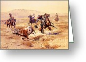 Open Range Greeting Cards - The Renegade Greeting Card by Pg Reproductions
