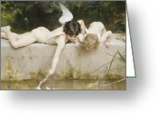 Pond Painting Greeting Cards - The Rescue Greeting Card by Emile Munier