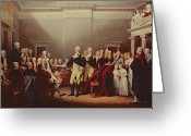 Resignation Greeting Cards - The Resignation of George Washington Greeting Card by John Trumbull