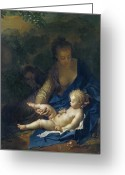 Motherhood Greeting Cards - The Rest on the Flight into Egypt Greeting Card by Adriaan van der Werff