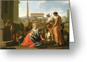 Poussin Greeting Cards - The Rest on the Flight into Egypt Greeting Card by Nicolas Poussin