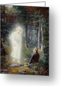 Angel Painting Greeting Cards - The Restoration Greeting Card by Lewis A Ramsey