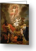 Biblical Greeting Cards - The Resurrection of Christ Greeting Card by Noel Coypel
