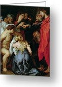 Rubens Painting Greeting Cards - The Resurrection of Lazarus Greeting Card by Rubens