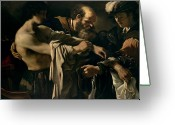 Guercino Greeting Cards - The Return of the Prodigal Son Greeting Card by Giovanni Francesco Barbieri