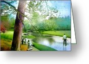 Miki Golf Art Greeting Cards - The Return of The Tiger 03 - Walking on Water Greeting Card by Miki De Goodaboom