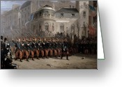 Regiment Greeting Cards - The Return of the Troops to Paris from the Crimea Greeting Card by Emmanuel Masse