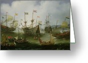 Van Painting Greeting Cards - The Return to Amsterdam of the Second Expedition to the East Indies Greeting Card by Andries van Eertvelt