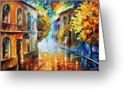 Europe Painting Greeting Cards - The Return To Etude In Red Greeting Card by Leonid Afremov