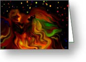 4th July Digital Art Greeting Cards - The Revellers Greeting Card by Mathilde Vhargon