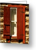 Cabin Window Greeting Cards - The Reynolds Cabin Window Greeting Card by Catherine Fenner