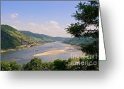 Terraces Greeting Cards - The Rhine panorama Greeting Card by Angela Doelling AD DESIGN Photo and PhotoArt
