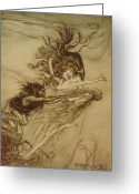 Rackham Greeting Cards - The Rhinemaidens teasing Alberich Greeting Card by Arthur Rackham