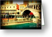 Landmarks Of Usa Greeting Cards - The Rialto Bridge of Venice in Las Vegas Greeting Card by Susanne Van Hulst