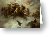 Barbarian Greeting Cards - The Ride of the Valkyries  Greeting Card by William T Maud