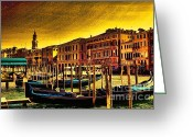 Places In Venice.venecia.venezia.venice Greeting Cards - The Ride Greeting Card by Tom Prendergast