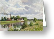Pisarro Greeting Cards - The River Oise near Pontoise Greeting Card by Camille Pissarro