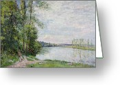 River Banks Greeting Cards - The Riverside Road from Veneux to Thomery Greeting Card by Alfred Sisley