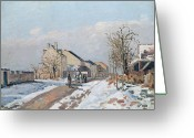 Bare Trees Painting Greeting Cards - The Road from Gisors to Pontoise Greeting Card by Camille Pissarro