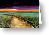 Orange Pastels Greeting Cards - The Road Home Greeting Card by Addie Hocynec