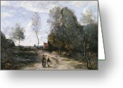1796 Greeting Cards - The Road Greeting Card by Jean Baptiste Camille Corot