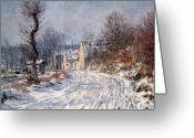 Landscape Cards Greeting Cards - The Road to Giverny in Winter Greeting Card by Claude Monet
