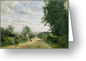 Outskirts Greeting Cards - The Road to Sevres Greeting Card by Jean Baptiste Camille Corot