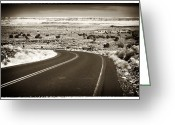 Ancient Prints Greeting Cards - The Road to Wupatki Greeting Card by John Rizzuto