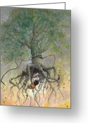 Surrealism Drawings Greeting Cards - The Roaming Oak Greeting Card by Ethan Harris