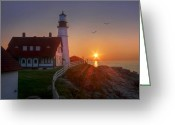 Portland Head Light Greeting Cards - The Rock is My Foundation Greeting Card by Lori Deiter