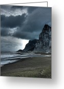 Grey Clouds Greeting Cards - The Rock ... Greeting Card by Juergen Weiss