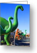 Dinosaurs Greeting Cards - THE ROCK SHOP Just off Route 66 Greeting Card by Mike McGlothlen