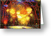 Fireworks Painting Greeting Cards - The Rocket Greeting Card by Pg Reproductions