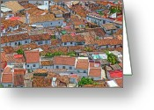 Reds Greeting Cards - The Roofs Of Jimena Greeting Card by Piet Scholten