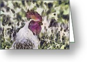 _york Greeting Cards - The rooster portrait Greeting Card by Odon Czintos