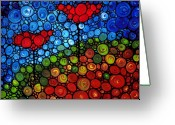 Red Abstract Greeting Cards - The Roots Of Love Run Deep Greeting Card by Sharon Cummings